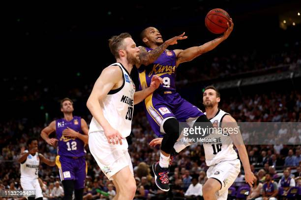 Jerome Randle of the Kings drives to the basket during game two of the NBL Semi Final series between the Sydney Kings and Melbourne United at Qudos...