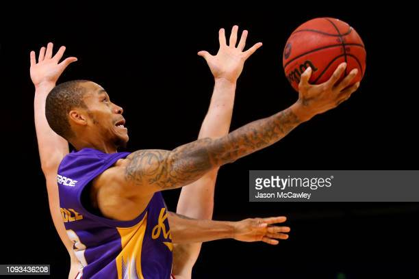 Jerome Randle of the Kings drives to the basket during the round 13 NBL match between the Sydney Kings and the Illawarra Hawks at Qudos Bank Arena on...