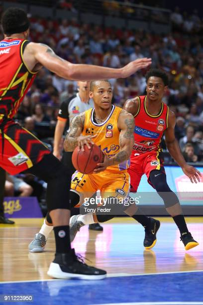 Jerome Randle of the Kings travels with the ball during the round 16 NBL match between the Sydney Kings and Melbourne United at Qudos Bank Arena on...
