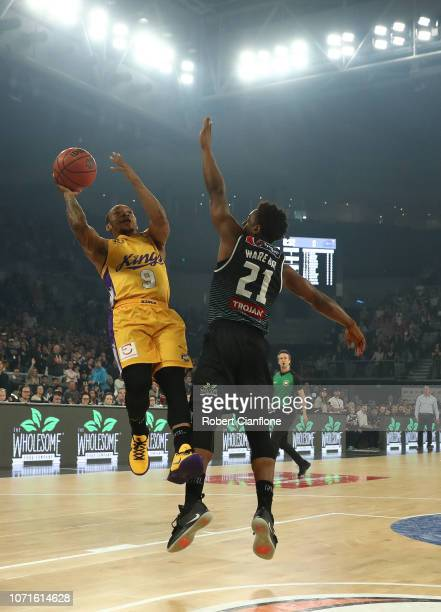 Jerome Randle of the Sydney Kings has his shot blocked by Casper Ware of United during the round seven NBL match between Melbourne United and the...