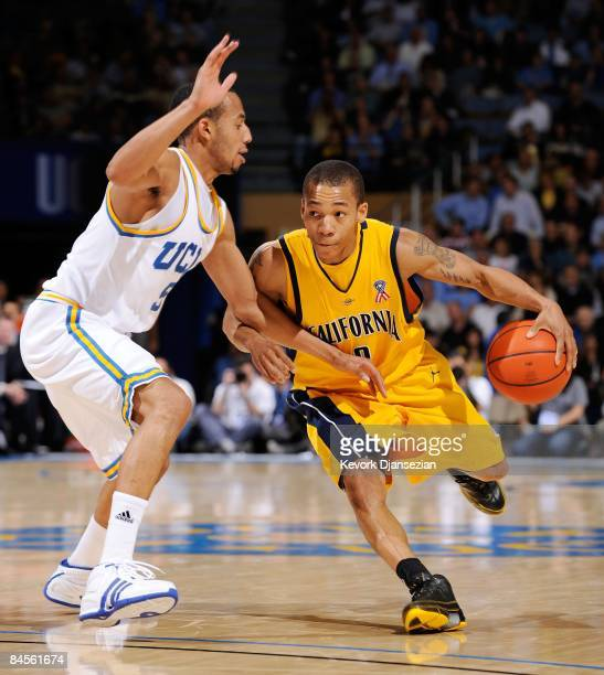 Jerome Randle of the University of California Golden Bears drives to the basket against the defense of Jerime Anderson of the UCLA Bruins during the...