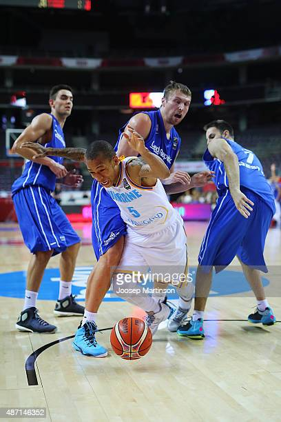 Jerome Randle of Ukraine is fouled during the FIBA EuroBasket 2015 Group D basketball match between Ukraine and Czech Republic at Arena Riga on...
