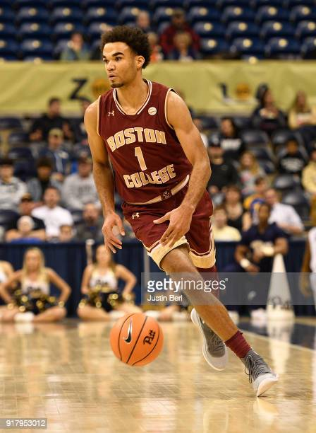 Jerome Robinson of the Boston College Eagles brings the ball up court in the first half during the game against the Pittsburgh Panthers at Petersen...