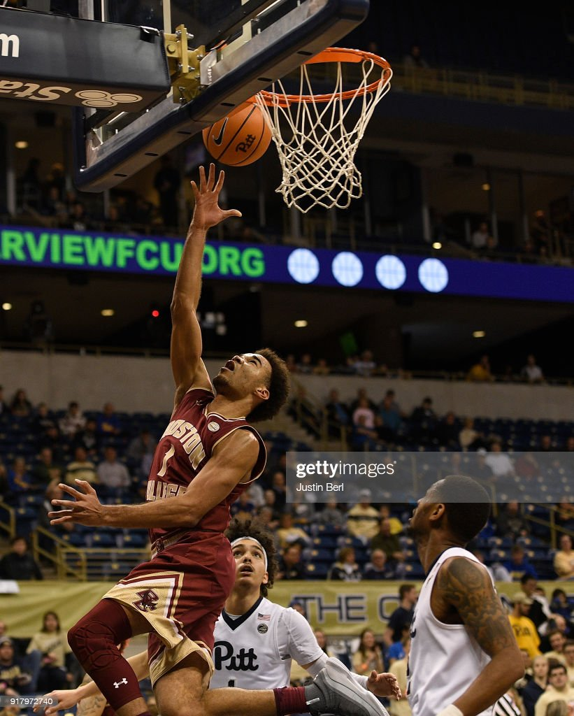 Jerome Robinson #1 of the Boston College Eagles goes to the basket for a lay up in the second half during the game against the Pittsburgh Panthers at Petersen Events Center on February 13, 2018 in Pittsburgh, Pennsylvania.