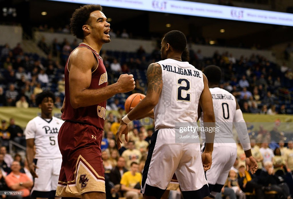Jerome Robinson #1 of the Boston College Eagles reacts after a basket in the second half during the game against the Pittsburgh Panthers at Petersen Events Center on February 13, 2018 in Pittsburgh, Pennsylvania.