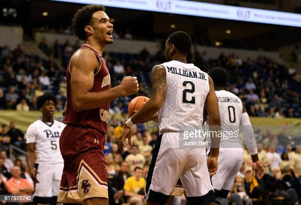 Jerome Robinson of the Boston College Eagles reacts after a basket in the second half during the game against the Pittsburgh Panthers at Petersen...