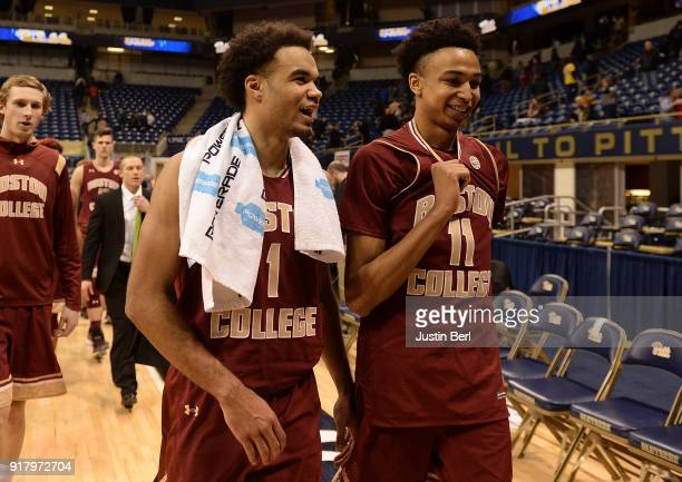 Jerome Robinson of the Boston College Eagles walks off the court with Vin Baker Jr #11 at the conclusion of the Boston College Eagles 8158 win over...