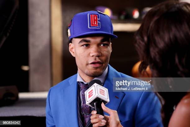Jerome Robinson talks to the media after being selected thirteenth by the LA Clippers on June 21 2018 at Barclays Center during the 2018 NBA Draft in...