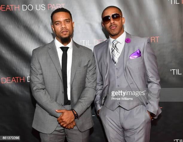 Jerome Romeo Jones and Marques Houston attend Til Death Do Us Part Atlanta Screening at Regal Atlantic Station on September 21 2017 in Atlanta Georgia