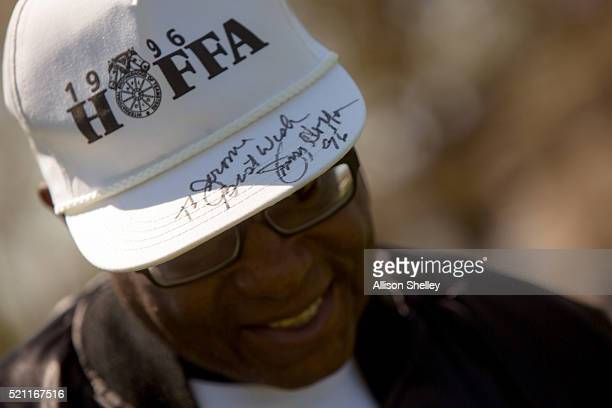 Jerome Ross of Detroit, Michigan, shows off a hat signed for him by James P. Hoffa, President of the International Brotherhood of Teamsters union and...