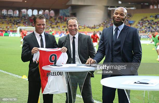 Jerome Rothen JeanPierre Papin and JeanAlain Boumsong comment for beIN Sports the UEFA Champions League play off round 2nd leg between AS Monaco and...
