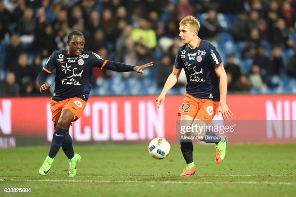 Jerome Roussillon and Lukas Pokorny of Montpellier during the Ligue 1 match between Montpellier Herault and SC Bastia at Stade de la Mosson on...