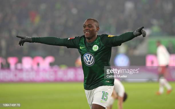 Jerome Roussillon of VfL Wolfsburg celebrates after scoring during the Bundesliga match between VfL Wolfsburg and RB Leipzig at Volkswagen Arena on...