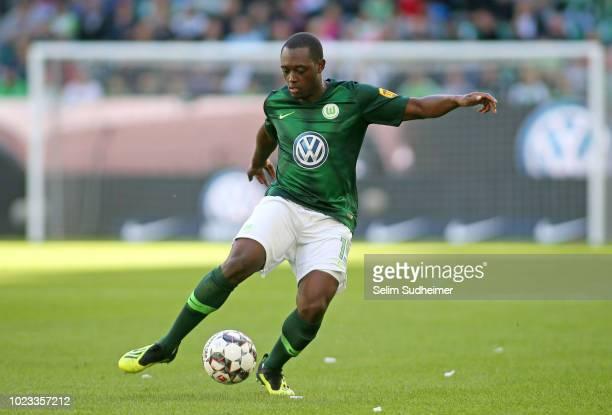 Jerome Roussillon of Wolfsburg is seen during the Bundesliga match between VfL Wolfsburg and FC Schalke 04 at Volkswagen Arena on August 25 2018 in...
