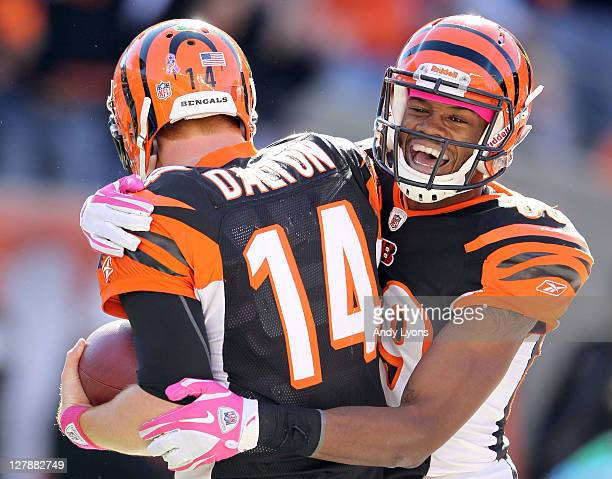 Jerome Simpson of the Cincinnati Bengals celebrates with Andy Dalton after Dalton ran for a touchdown during the NFL game against the Buffalo Bills...
