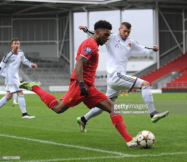 Jerome Sinclair of Liverpool and Adoni Ajeti of FC Basel in action during the UEFA Youth League fixture between Liverpool and FC Basel at Langtree...