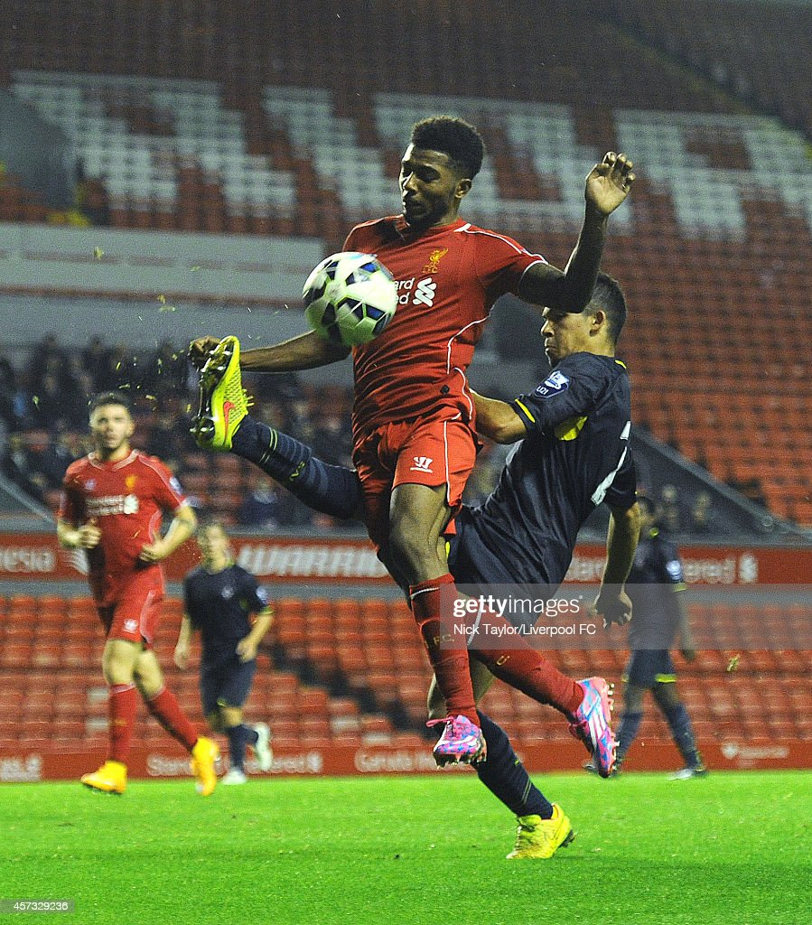 Jerome Sinclair of Liverpool and Nial Mason of Southampton in action during the Barclays Premier League Under 21 fixture between Liverpool and Southampton at Anfield on October 16 in Liverpool, England.