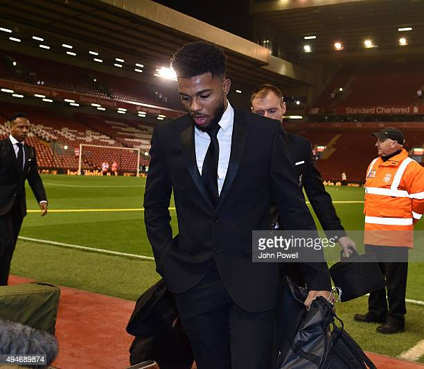 Jerome Sinclair of Liverpool arrives at the Capital One Cup Fourth Round match between Liverpool and AFC Bournemouth at Anfield on October 28 2015 in...