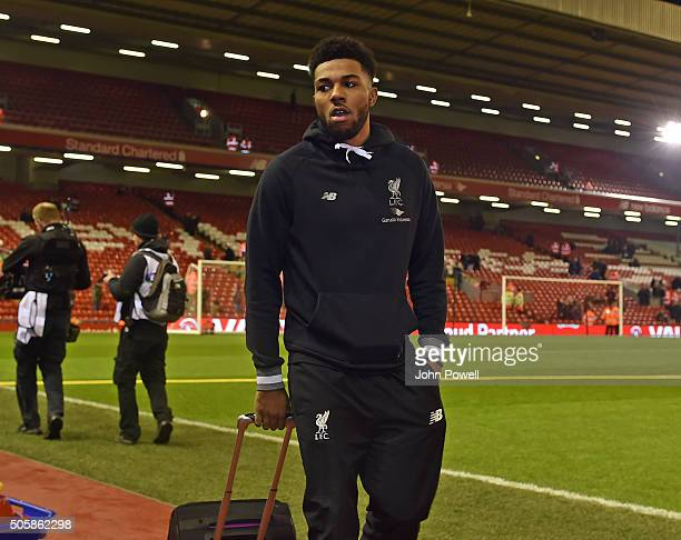 Jerome Sinclair of Liverpool arrives before The Emirates FA Cup Third Round Replay between Liverpool and Exeter City at Anfield on January 20 2016 in...