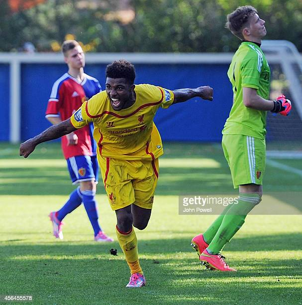 Jerome Sinclair of Liverpool celebrates after scoring a goal during the UEFA Youth League match between FC Basel 1893 Under 19s and Liverpool FC...
