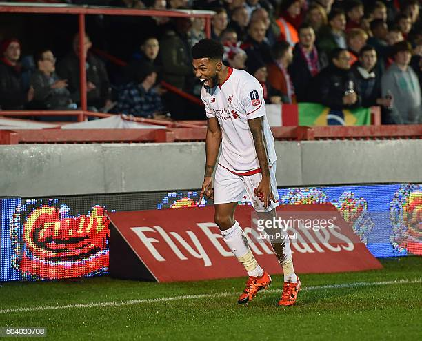 Jerome Sinclair of Liverpool clebrates after scoring an equalising goal during the Emirates FA Cup third round match between Exeter City and...