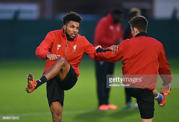 Jerome Sinclair of Liverpool during a training session at Melwood Training Ground on January 4 2016 in Liverpool England