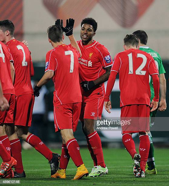 Jerome Sinclair of Liverpool FC celebrates after scroing the second during the UEFA Youth League match between PFC Ludogorets Razgrad and Liverpool...
