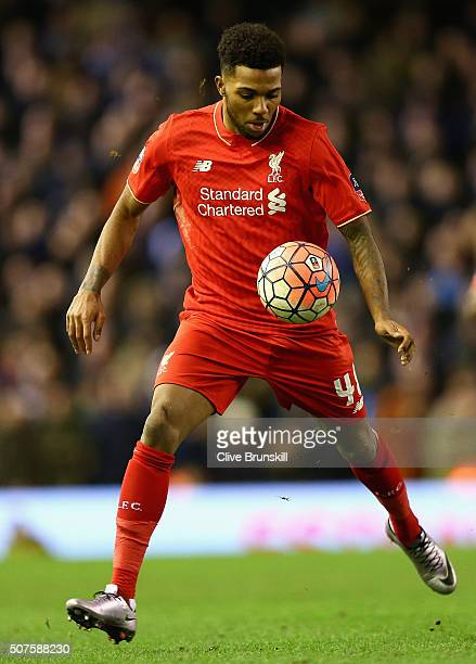 Jerome Sinclair of Liverpool in action during The Emirates FA Cup Fourth Round match between Liverpool and West Ham United at Anfield on January 30...