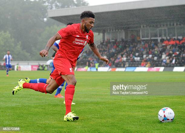 Jerome Sinclair of Liverpool in action during the Liverpool XI v Porto B Steel Park Cup game at Steel Park Stadium on July 26 2015 in Corby England