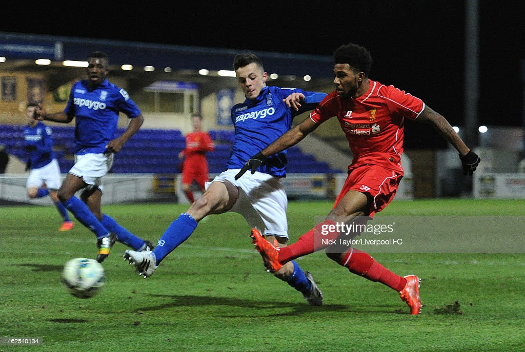 Jerome Sinclair of Liverpool scores during the FA Youth Cup 5th Round match between Liverpool and Birmingham City at The Swansway Chester Stadium on January 30, 2015 in Chester, England.