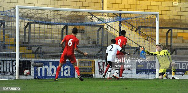 Jerome Sinclair of Liverpool scores during the Liverpool and Tottenham Hotspur Barclays U21 Premier League game at the Lookers Vauxhall Stadium on...