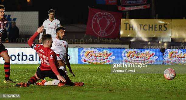 Jerome Sinclair of Liverpool scores the equalising goal during the Emirates FA Cup third round match between Exeter City and Liverpool at St James...