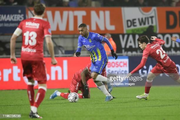 Jerome Sinclair of VVV Venlo, Sylla Sow of RKC Waalwijk, Simon Janssen of VVV Venlo during the Dutch Eredivisie match between RKC Waalwijk v...