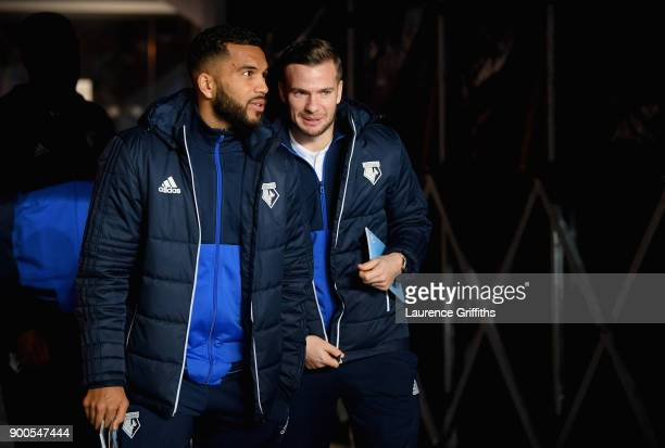 Jerome Sinclair of Watford and Tom Cleverley of Watford arrive at the stadium prior to the Premier League match between Manchester City and Watford...