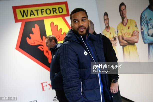 Jerome Sinclair of Watford arrives at Vicarage Road ahead of the Premier League match between Watford and Leicester City at Vicarage Road on December...