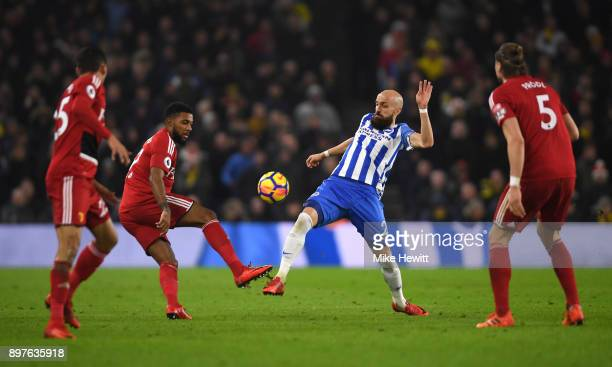 Jerome Sinclair of Watford challenges Bruno Saltor of Brighton and Hove Albion during the Premier League match between Brighton and Hove Albion and...