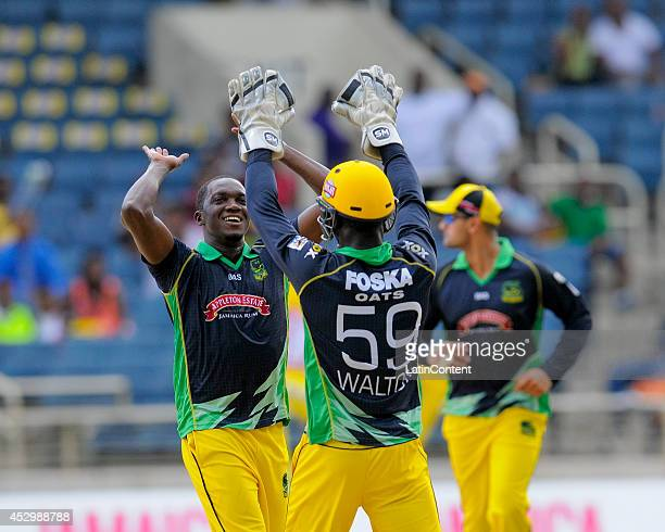 Jerome Taylor of Jamaica Tallawahs celebrates the dismissal of Rahkeem Cornwall of Antigua Hawksbills during a match between Jamaica Tallawahs and...