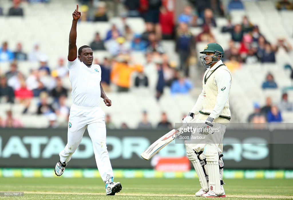 Jerome Taylor of the West Indies celebrates after dismissing Usman Khawaja of Australia during day one of the Second Test match between Australia and the West Indies at the Melbourne Cricket Ground on December 26, 2015 in Melbourne, Australia.