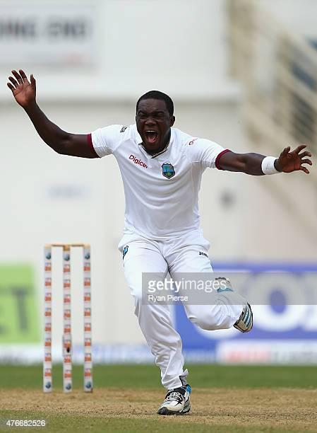 Jerome Taylor of West Indies appeals for the wicket of Shaun Marsh of Australia during day one of the Second Test match between Australia and the...