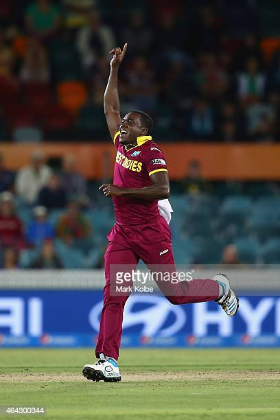 Jerome Taylor of West Indies celebrates the wicket of Tinashe Panyangara of Zimbabwe during the 2015 ICC Cricket World Cup match between the West...