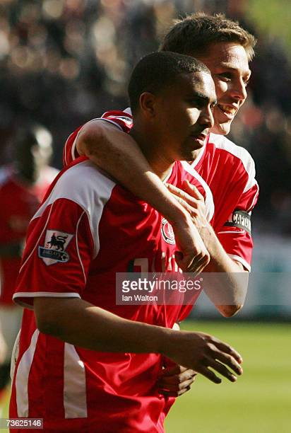 Jerome Thomas of Charlton Athletic celebrates with Matt Holland as he scores their second goal from the penalty spot during the Barclays Premiership...