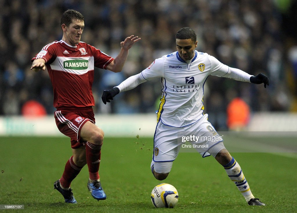 Jerome Thomas of Leeds United in action with Richard Smallwood of Middlesbrough during the npower Championship match between Leeds United and Middlesbrough at Elland Road on December 22, 2012 in Leeds, England.
