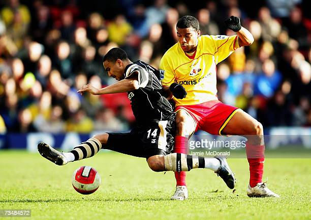 Jerome Thomas of Watford is tackled by Adrian Mariappa of Charlton during the Barclays Premiership match between Watford and Charlton Athletic on...