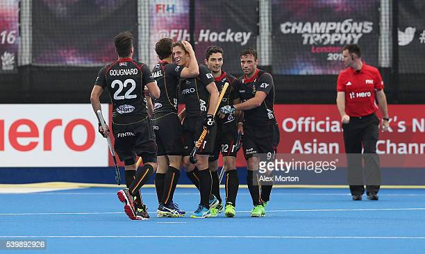 Jerome Truyens of Belgium celebrates scoring their second goal during the FIH Mens Hero Hockey Champions Trophy match between Belgium and India at...