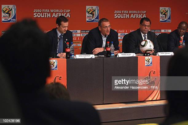 Jerome Valcke FIFA General Secretary and Danny Jordaan CEO of the FIFA World Cup 2010 Organising Committee attend a press conference on June 26 2010...