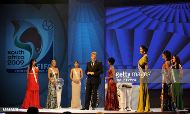 Jerome Valcke FIFA Secretary General conducts the Official Draw for the 2009 FIFA Confederations Cup with the Miss World Contestants at the Sandton...