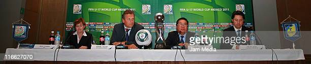 Jerome Valcke Secretary General of FIFA David Chung Acting Chairman and Yon de Luisa Tournament Director Loc during the press conference to announce...
