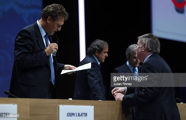 Jerome Valcke , Secretary General of FIFA talks with Barry Bright, Vice Chairman of FA during the 61st FIFA Congress at Hallenstadion on June 1, 2011...