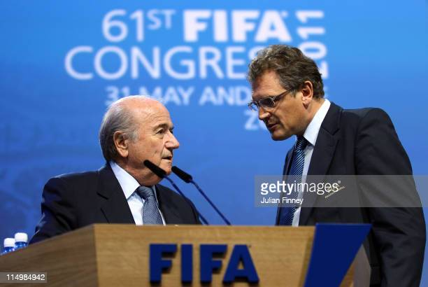 Jerome Valcke, Secretary General of FIFA talks with Presedent of FIFA, Joseph S.Blatter during the 61st FIFA Congress at Hallenstadion on June 1,...