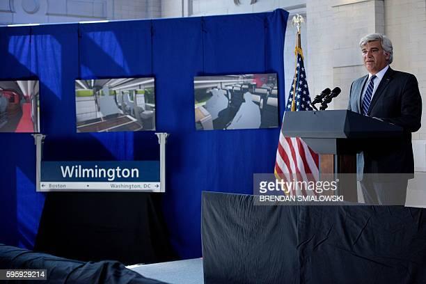 Jerome Wallut, President of Alstom Transportation Inc., speaks about new high speed trains at Amtrak's Joseph R. Biden, Jr., Railroad Station August...